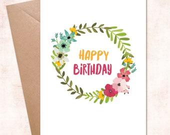 Printable Flower  Happy Birthday Wreath Instant Download Digital Card