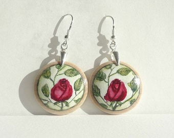 Red Rose Earrings, Wooden Dangle Earring, 925 Sterling Silver Wood Earrings, Handmade and Hand Painted Jewelry, Painted Earrings