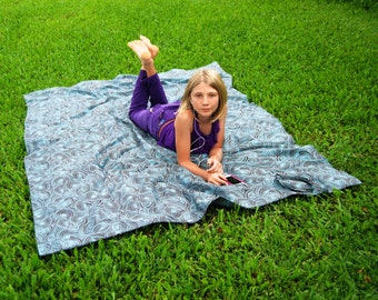 Sale - Organic Cotton Twill Picnic Blanket - Beach Blanket - Brown and Turquoise - Camping - Summer Festival Gear