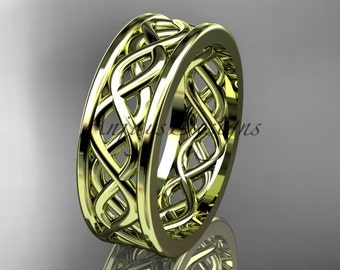 Unique bridal ring, 14kt yellow gold vine wedding band, engagement ring ADLR257G