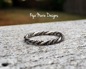 Twisted band stack ring, Sterling Silver Stack Rings, minimalist ring, nautical rope ring