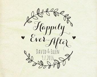 happily ever after stamp- wedding favor -wreath stamp- invitation stamp -custom wedding  stamp