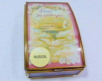 1990s, Via Vermont, Amazing Grace, Music Box, Music Gift, Music Teacher Gift, Music Box Vintage, Dove, Sankyo, Sankyo Japan,