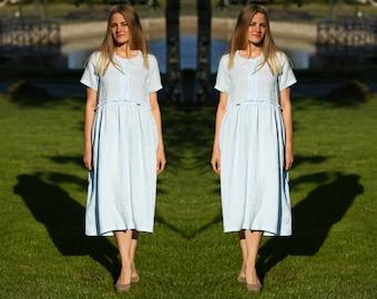Light Blue Linen Dress, Linen Dress, Summer Dress, Midi Dress, Loose Linen Dress, Loose Fit Dress, Natural Linen, Blue Linen Dress, Sundress