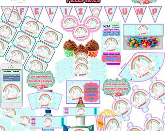 Printable Unicorn Freepik.es editable Kit + candy bar (candy table) toppers wrappers Rainbow Banner Invitations