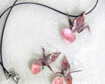 Parure in rosa con gru origami e fiore di carta - Collana e orecchini da sposa, testimone nozze - Dreamy Collection
