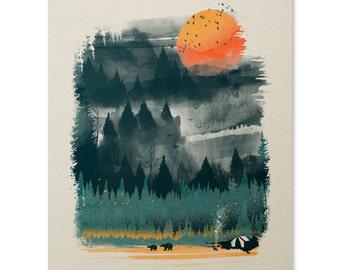 Wilderness Print 8 x 10, Camping Print, Outdoor Print, Wilderness Wall Art, Bear Forest Wall Hanging, Log Cabin Prints, Summerhouse Decor