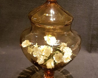 Amber Lidded Glass Apothecary Jar / Candy Dish /  Candy Jar