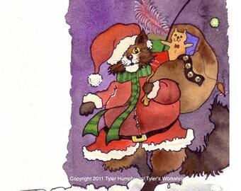 Cat Christmas Card, Christmas Greeting Card, Cat Art, Funny Santa Clause Cat Card, Tabby Cat Watercolor Painting Illustration Cartoon Print