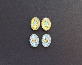 4 cabochons 13 x 18 mm glass ethnic