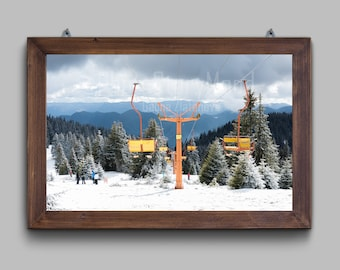 Winter landscape photography Ski lift Winter sport Tree Photo Skiing and snowboarding Family holiday Winter decor Mountain and snow Runways