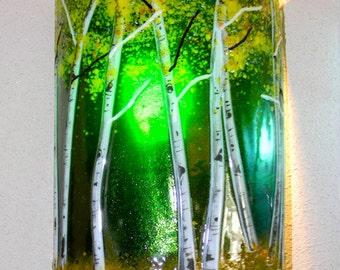 Aspen Grove Fused Glass Sconce - Emerald Green