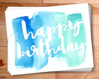 Happy Birthday cards, Watercolor Notes, Gift, Script, Typography, Notecards, 12