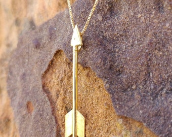gold arrow necklace, long arrow necklace, arrow head necklace, Sagittarius Necklace, Arrow Necklace, father day gift, gift for boyfriend