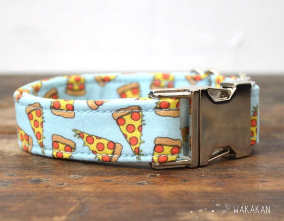 Pizza dog collar. Adjustable and handmade with 100% cotton fabric. Retro design Wakakan