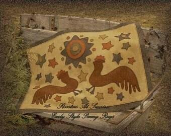 Roosters at Sunrise Rug, printed pattern