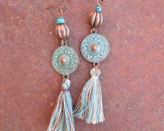 Copper Beaded Tribal Bohemian Tassel Earrings - Turquoise and Copper Tassel Earrings - Patina Copper Earrings
