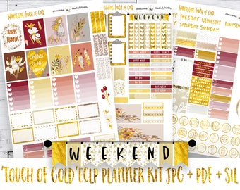 Erin Condren Vertical Gold Sticker Kit | PRINTABLE Planner Stickers | ECLP Weekly Sticker Kit | 'Touch of Gold' Sticker Kit | Free Cut File