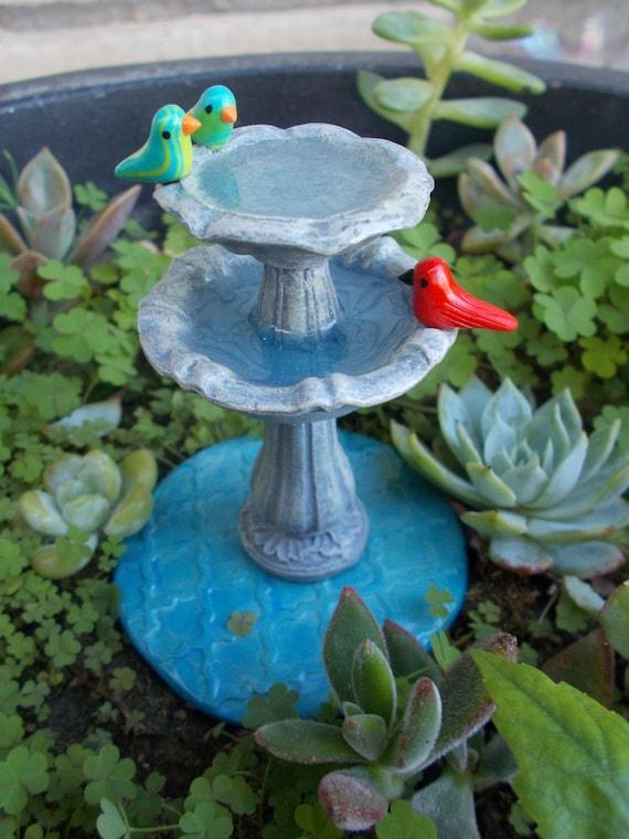 Miniature Tiered Bird Bath Fountain Miniature Fairy Garden Faerie Gnome  Hobbit Garden Fae Garden