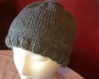 Hand knitted hat.