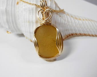 Golden Yellow Sea Glass Necklace, Beach Jewelry, English Sea Glass, End-of-the Day-Glass, Seaham Glass Factory, Rare Color