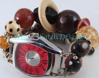 CLEARANCE Give a Hoot WATCH SET.. Brown, Black, Amber and Red Beaded Watch Bracelet. Watch Face Included
