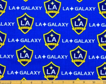 "LA Galaxy Fabric MLS Soccer Fabric 58"" Wide 100% Cotton"