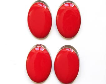 4 buttons oval red enamel and silver plated 25 mm / top quality