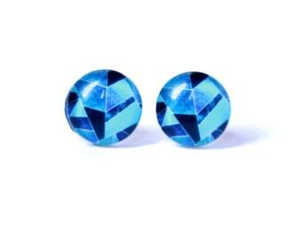 Blue geomertric stud earrings - Triangle stud earrings - Geometric earrings - Gifts for her - Color block - Modern minimalist stud earring