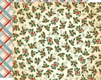 1 Sheet of Carta Bella Paper CHRISTMAS WONDERLAND 12x12 Scrapbook Paper - Holly and Mistletoe (CBCW46009)