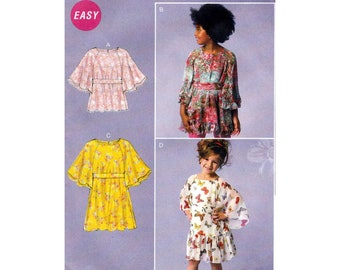 Girl's Pullover Top, Dress and Belt Sewing Pattern Child Size 3-4-5-6 UNCUT McCall's M6690