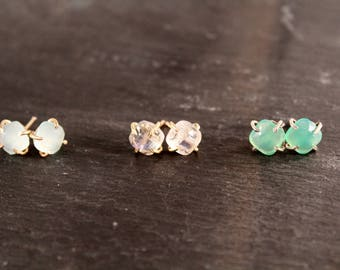 Cushion Cut Gemstone Stud Prong Earrings (Gold Sterling Silver Rose Aqua Chalcedony Chrysoprase Rainbow Moonstone Gift for her Under 50)
