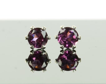 Rhodolite garnet earrings, sterling silver and 4mm rhodolite garnet studs, raspberry red pink gemstone, June birthstone earrings, small gift