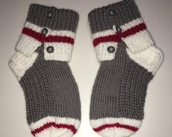 Slippers Handknit sock monkey dorm socks