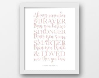 Always remember, PRINTABLE ART, Winnie the Pooh, Quote print, Disney quote, Minimalist, Modern wall art, Pink, Nursery decor, Children's art