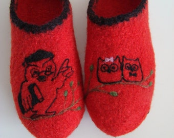 Clogs with owls, felt shoes, teacher & student owls