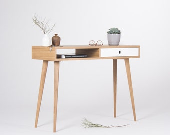 Small console  table, entryway table with white drawer and open shelf, mid century modern, made of oak wood