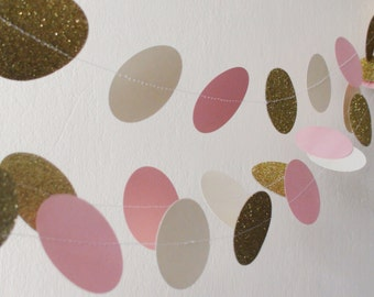 Pink Ivory Gold circle Paper Garland Baby shower Wedding garland Pink Gold party bridal shower decor girl birthday decoration  glamour party