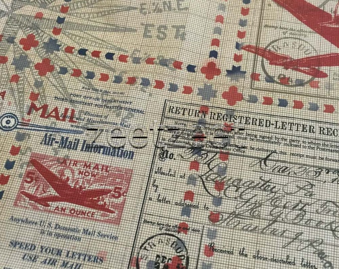 In Transit AIRMAIL CORRESPONDENCE Tan Quilt Fabric - by the Yard, Half Yard, or Fat Quarter Fq Transportation Shipping Freight Letters Stamp