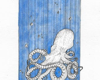Watercolor and ink squid painting