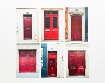French Postcard Set of 6 - Paris Doors in Red - 4x6 Photography Print Set