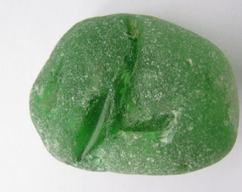 Green Bonfire Beach Glass, Vintage Genuine, Sea Glass Large, Jewelry Supply