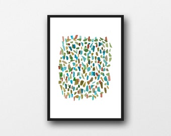 Modern, abstract watercolor painting Sea glass, watercolor print, Broken Pieces, watercolor art