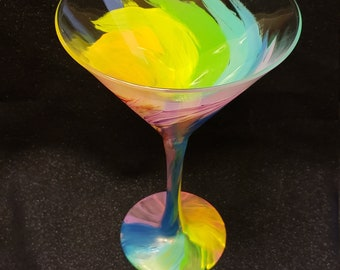 Rainbow Tornado Martini Glass
