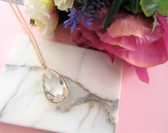 Birthday Gift for Her, Large Gemstones Necklace, Mothers Day Gift, Necklace, Bridal Necklace, Bridesmaids Gifts, Large Gem, Gift for Her