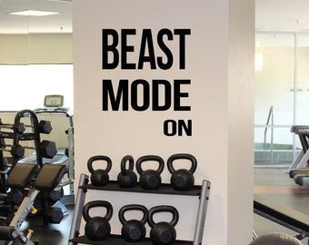Gym Motivation Quote Beast Mode On Vinyl Decal Workout Fitness Wall Sticker Sport Home Gym Interior Wall Graphics 25(fgm)