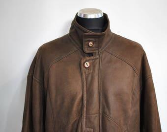 Vintage MEN'S shearling parka , shearling men parka , men's jacket , sheep skin parka ...(430)