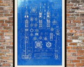 Soyuz Rocket Russian Blueprint Art of The Russian Soyuz Rocket Technical Drawings Engineering Drawings Patent Blue Print Art Item 0103
