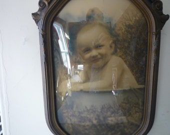 Vintage Portrait Early Handcolored Photograph Baby in Bath Bubble Glass Frame - collectors item - Victorian rare antique frame Domed glass