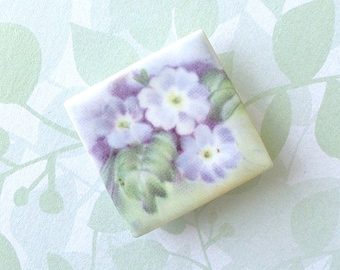 SALE! Ceramic Brooch. English Primroses. Lavender Flowers. Square. Clay. Periwinkle. Violet. Purple. Green. Shabby Chic. Floral. Large Pin